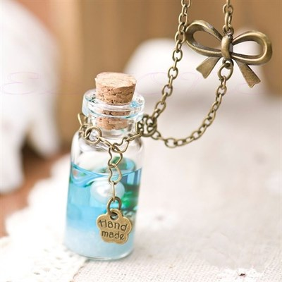 Ocean Glass Bottle Pendant