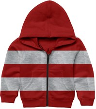 Red Grey Zipper Hoodie