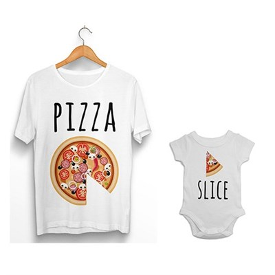 0c8f9a74b Pizza - Pizza Slice father and baby matching T-shirt, Onesie , Baby ...