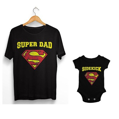 Super Dad Sidekick Father And Baby Matching T Shirt Onesie Baby
